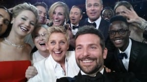 A selfie taken by Bradley Cooper at the Oscars 2014 including, Meryl Streep, Jared Leto, Jennifer Lawrence, Julia Roberts, Ellen Degeneres, Kevin Spacey, Brad Pitt, Angelina Jolie and Lupita Nyong'o.