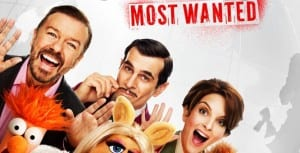 Ricky Gervais, Tina Fey and Ty Burrell in a poster for the muppets