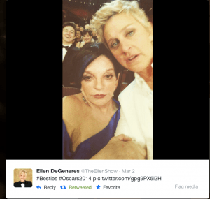 A selfie taken by Ellen Degeneres of her and Liza Minelli at the Oscars 2014.