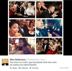 A series of six pictures taken by Ellen at the Oscars of celebrities eating pizza during the ceremony.