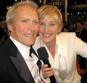 An image of Ellen Degeneres and Clint Eastwood at the Oscars in 2007.