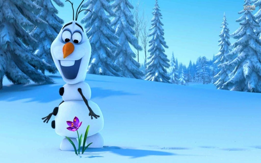 Olaf the snowman looking at a flower growing out of the snow