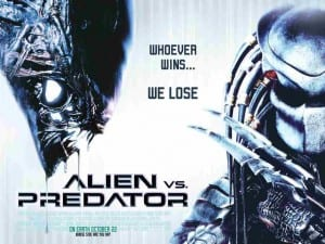 The movie poster for Alien vs Predator featuring two monsters on a white background.