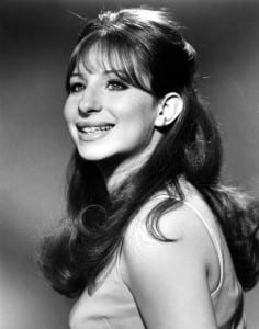 A black and white image of Barbara Streisand