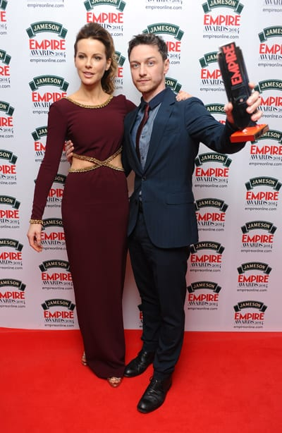 James McAvoy posing with his Empire award and Kate Beckinsale