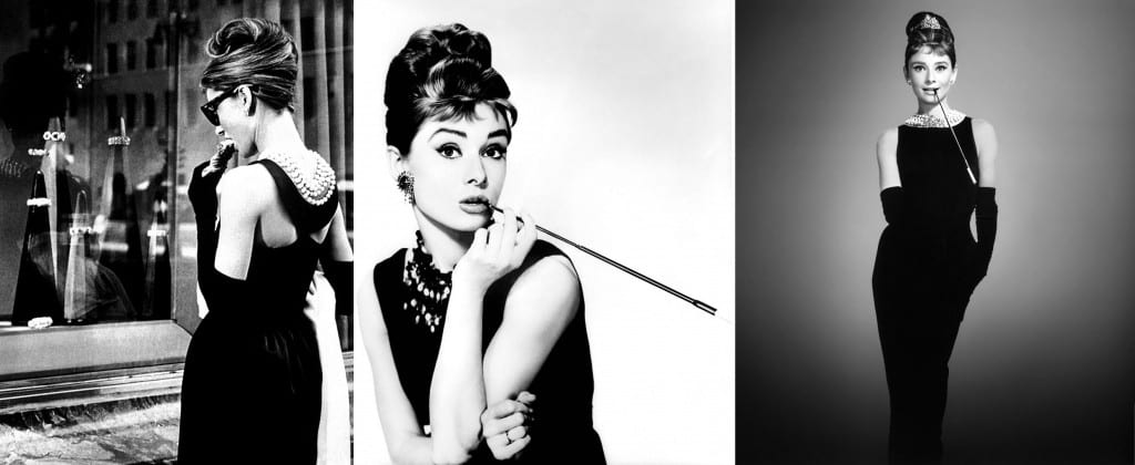 Collage of three photos of Audrey Hepburn wearing her infamous little black dress, one from the side, one portrait and one full length from the front.