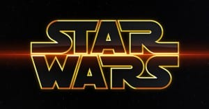 The words 'Star Wars' with a gold outline on a black background