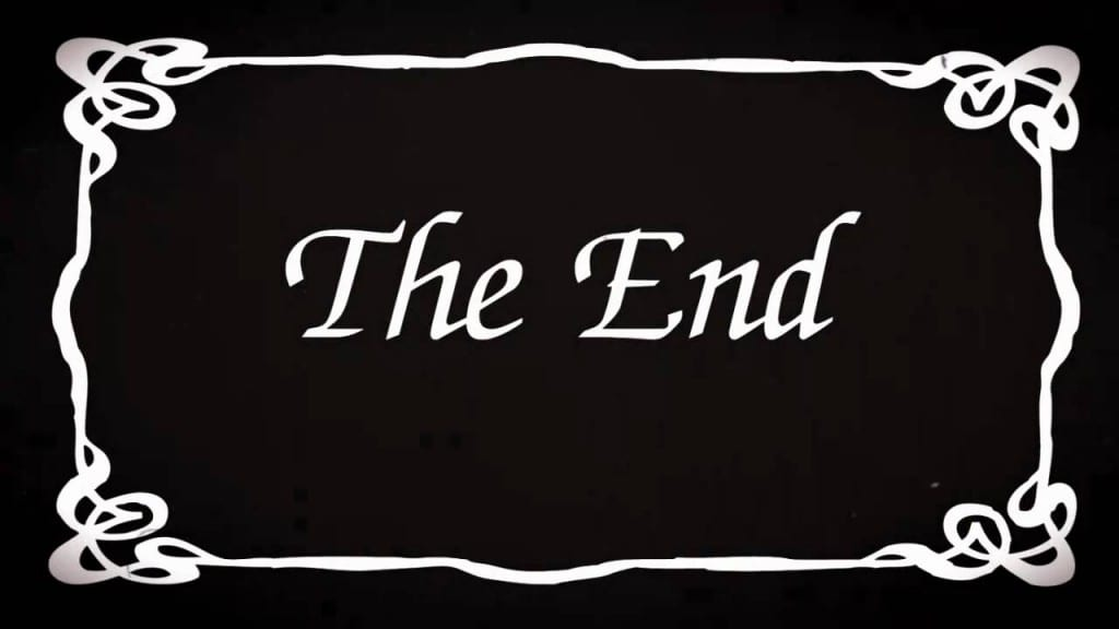 The word 'The End' printed in white on a black background.