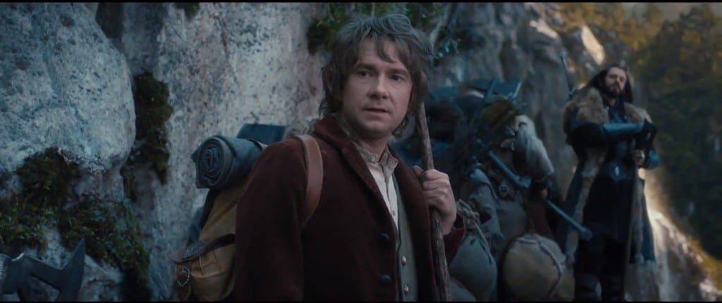 Bilbo stood on a mountain path.