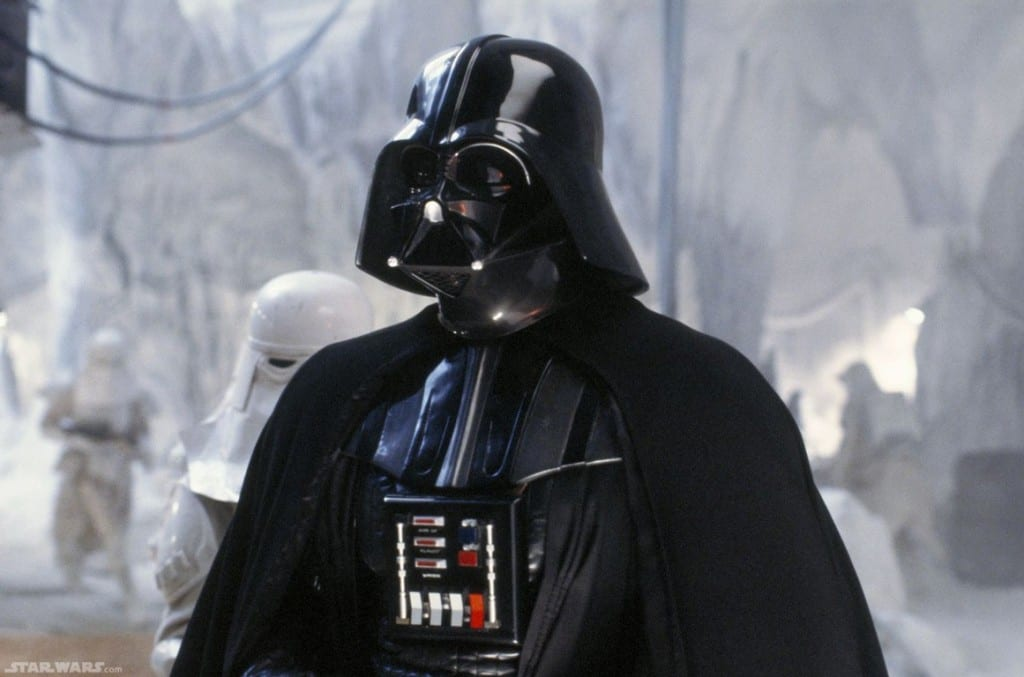 Darth Vader stood in front of Snowtroopers on Hoth, the snow planet.