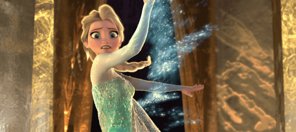 Elsa using her ice magic.