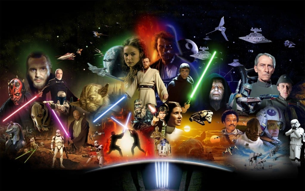 An ensemble of Star Wars characters.