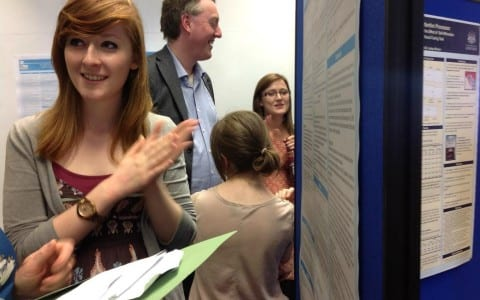 Students present their research posters
