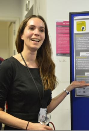 Alas we don't have a photo of Hannah at the CoSS event, so here she is presenting work at a different event!
