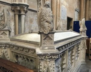 A photograph of the William Hilton and Peter de Wint cenotaph in Lincoln Cathedral.