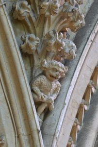 A photograph of the Lincoln Imp in Lincoln Cathedral.
