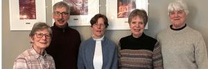 A photograph of Angela Suttle, Jonathan Joy, Ros Mole, Joan Panton, Lynne Green. Image supplied by Angela.