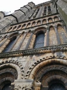 A picture of the detail of the Norman stonework of Lincoln cathedral.