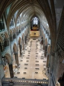 A picture of the view of the nave of Lincoln cathedral from the roof.