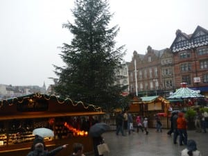 Christmas market in rainy Nottingham