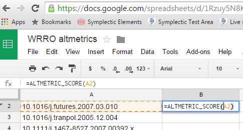 1. Type the formula into the first cell as =ALTMETRIC_SOURCE(A2)