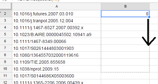 Drag formula into all cells in column B