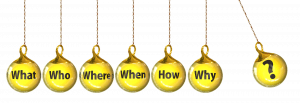 A series of questions each on yellow balls