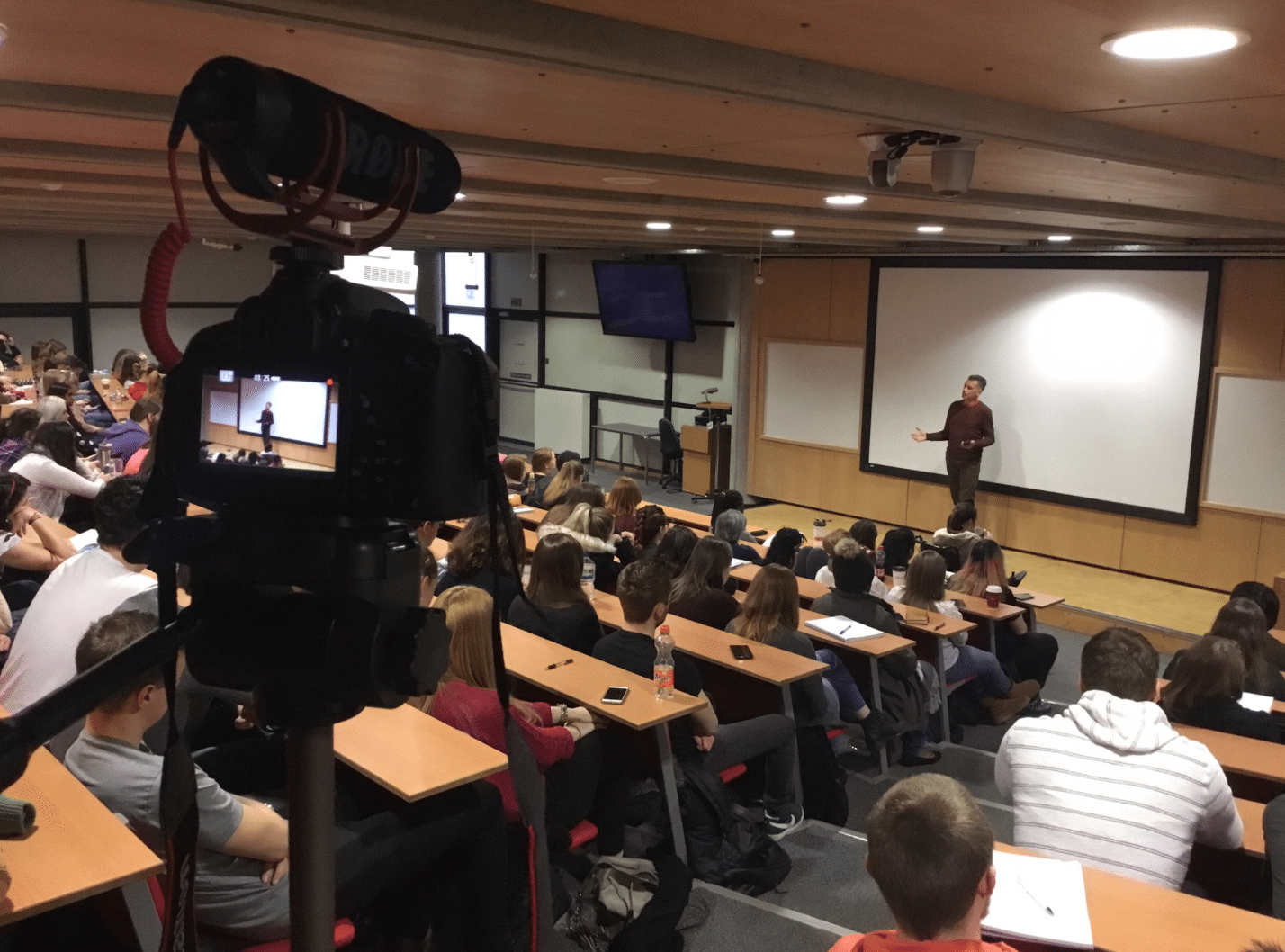 Learning at Lincoln - Chris Packham delivering a lecture in Cargil lecture theatre, University of Lincoln.