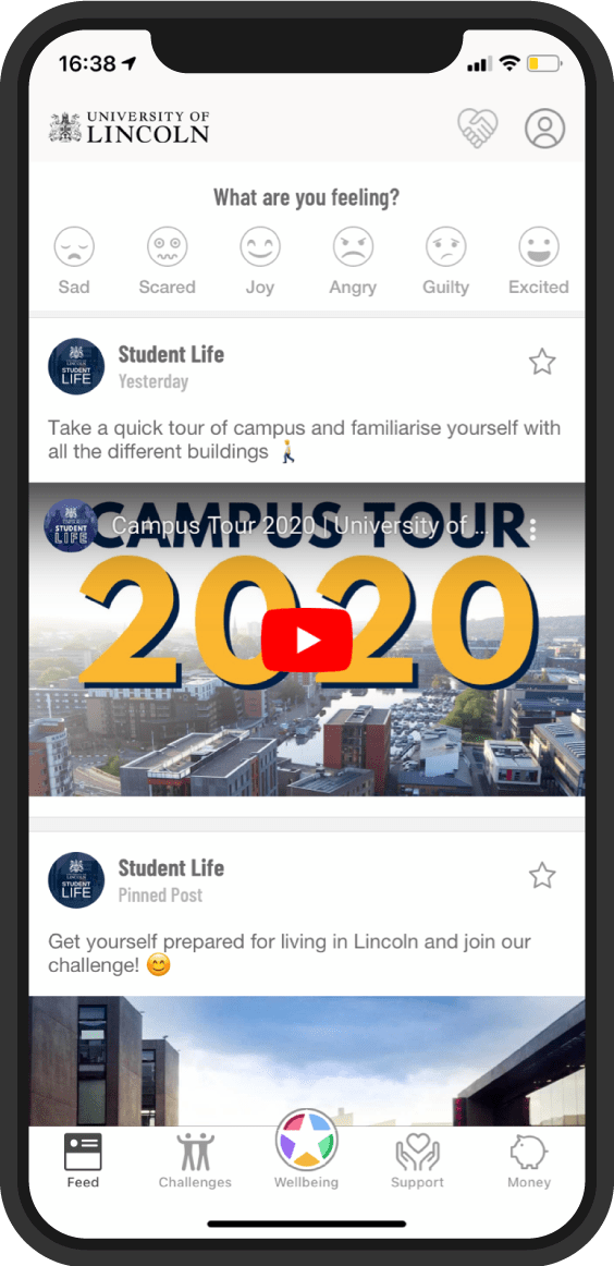 Screenshot of Student Life app on the content feed, where articles, videos and announcements are posted on the app.