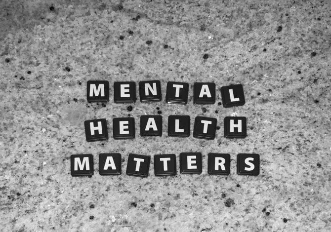 Scrabble letters spelling out 'mental health matters'