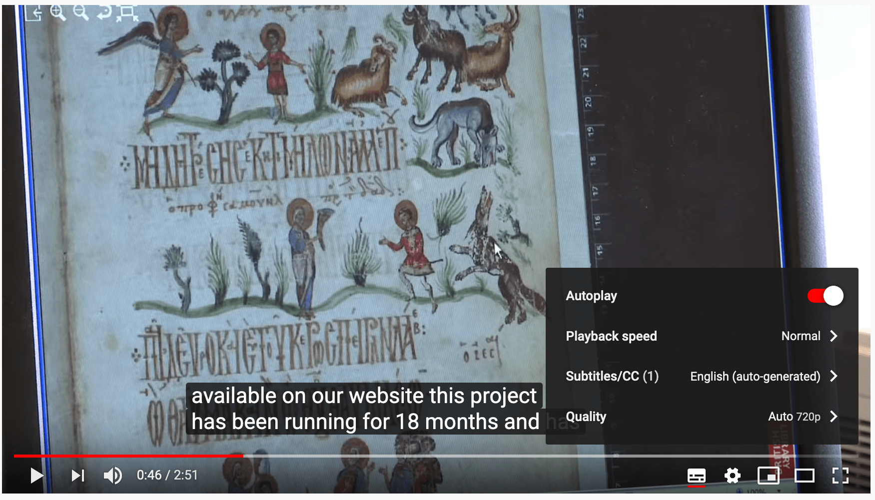 Screen shot of a Youtube video showing accessibility features including closed captioning and adjustment of playback speed