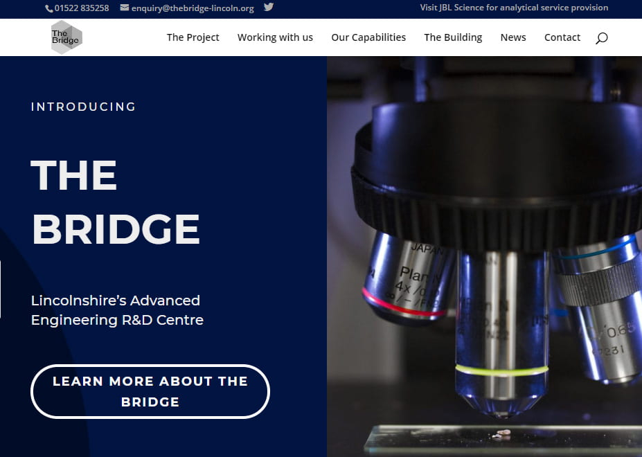 Front page of the new Bridge website