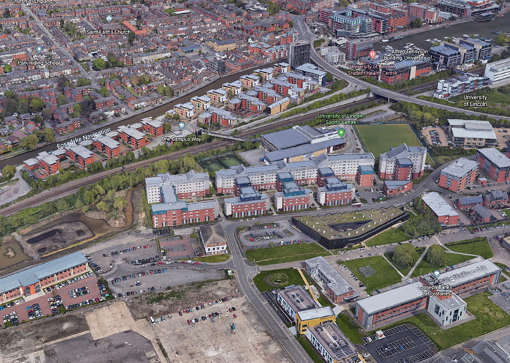 Birds eye view of Lincol Science & Technology Park with location of The Bridge