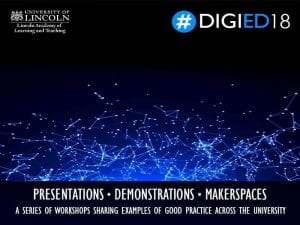 An image advertising Digied18 events. It shows small blue dots connected by lines of white on black background