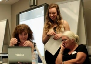 Dr. Cairo Hickman (Left) and Sue Watling (Right) using Xerte. Photo by Chris Rollinson.  (http://bit.ly/1t289oz)