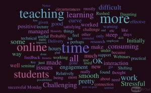 Word cloud - transition to online teaching