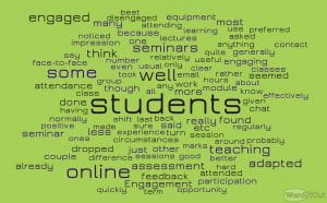 Word cloud on student adaptation to online learning
