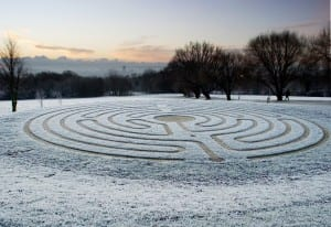 Canterbury Labyrinth in winter, by Jim Higham, University of Kent