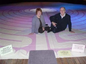 Eunice Mathers and Les Acklam with the Ermine Labyrinth