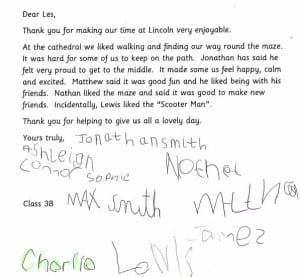 Letter to Les Acklam from the children who walked the Ermine Labyrinth in Lincoln Cathedral