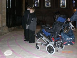 Children walking the Ermin Labyrinth at Lincoln Cathedral