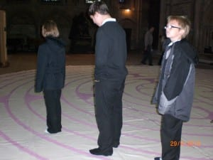 Children walking the Ermine labyrinth at Lincoln Cathedral