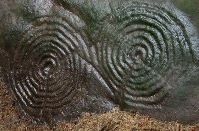 Rock art double spiral image