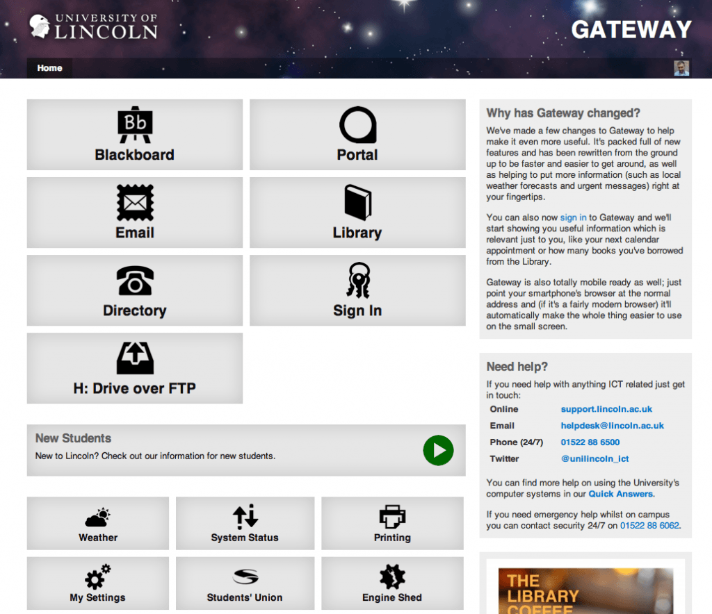 The university Gateway page