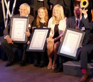 Prof Allinson pictured, far left, along with fellow prize winners.