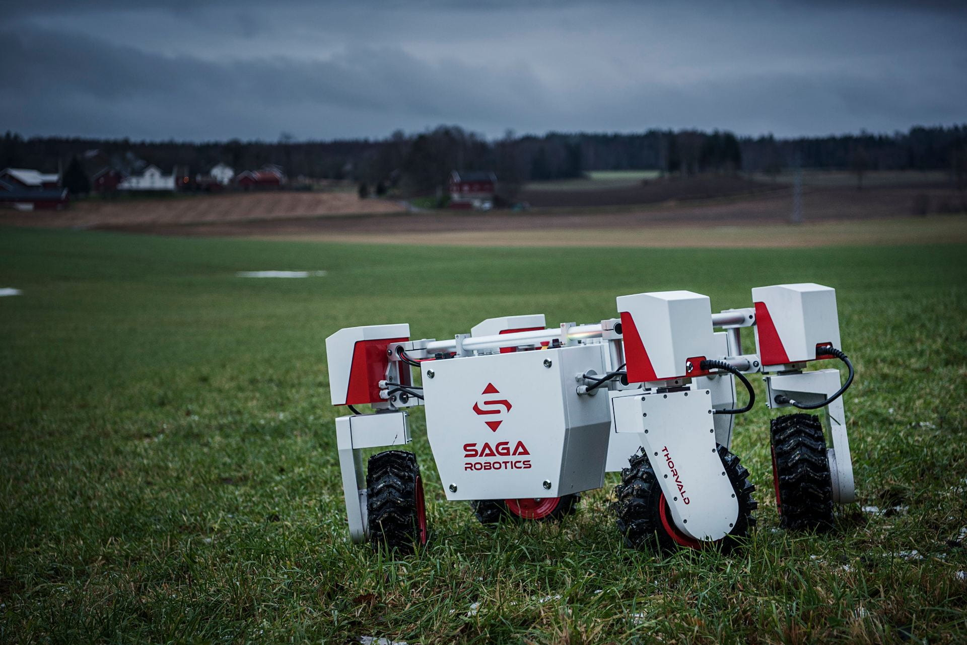 Saga robotics robot in a field.