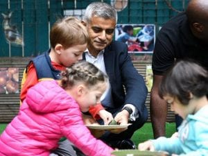 Sadiq Khan, the Mayor of London, visiting UCL in October to mark the launch of his 'T-charge' and promote action to tackle London's air quality.