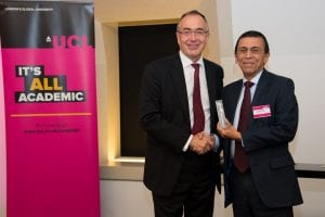 A donor is inducted into the UCL Circle of Benefactors by President & Provost Professor Michael Arthur
