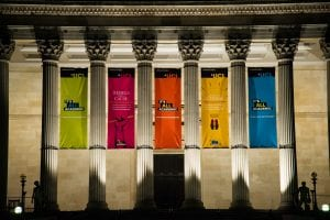 The Portico decorated with banners celebrating the launch of the It's All Academic Campaign in September 2016