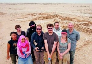 The team of researchers, led by Dr José Carvajal López of UCL Qatar, at the spot where they unearthed the earliest Islamic period site in Qatar